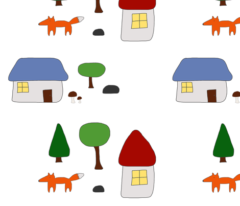 Woodland Escape with Houses, Mushrooms, and Fox fabric by jennybristol on Spoonflower - custom fabric