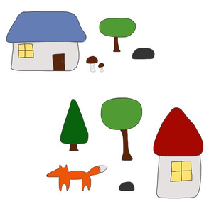 Woodland Escape with Houses, Mushrooms, and Fox