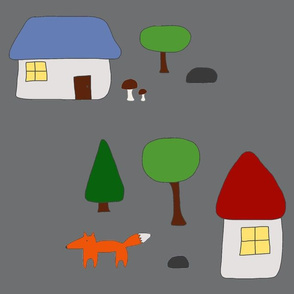 Woodland Escape with Houses, Mushrooms, and Fox, Grey Background
