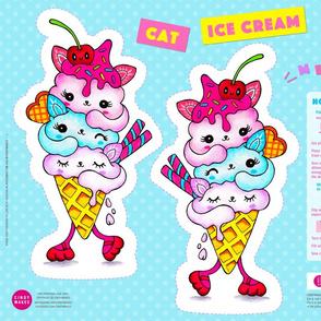 Cat Ice Cream Pillow