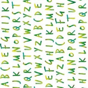 green alphabet pattern