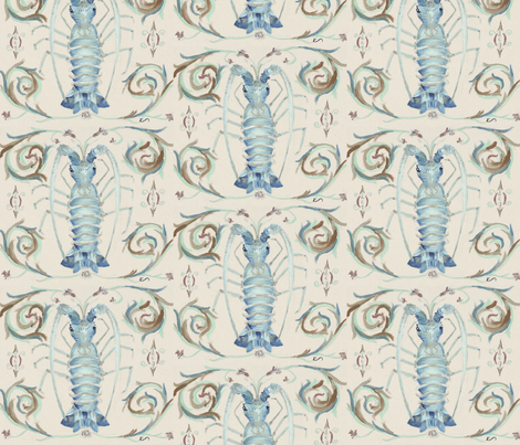 blue_lobster_muted fabric by elliemacdesigns on Spoonflower - custom fabric
