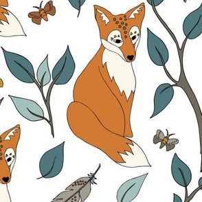 Spirit Fox - Rust Orange, Teal, White