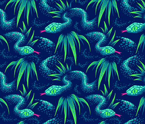 Mr Snake in the Rainforest - Green fabric by andreaalice on Spoonflower - custom fabric