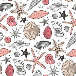 Seashells Nautical Ocean Shells  Peach Pink Rotated