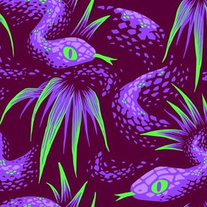 Mr Snake in the Rainforest - Purple Green