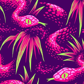 Mr Snake in the Rainforest - Pink Green