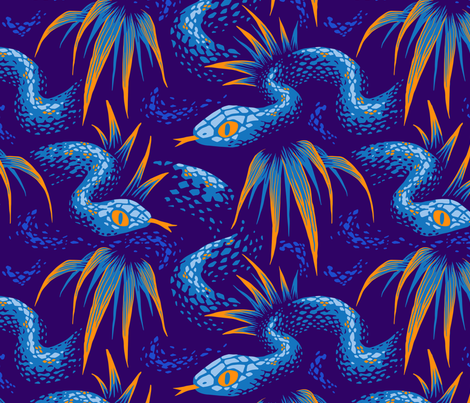 Mr Snake in the Rainforest - Blue Orange fabric by andreaalice on Spoonflower - custom fabric