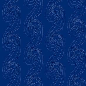 Indigo sashiko swirls waves and pools