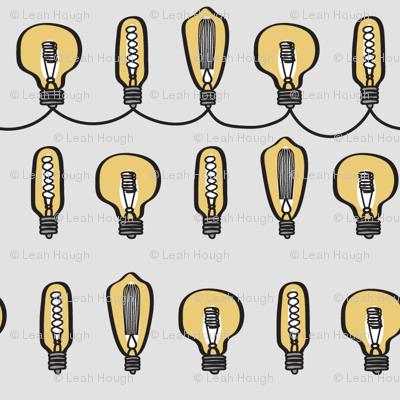 Hand Drawn Vintage Bulbs Gray BG