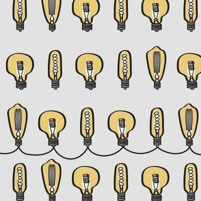 Hand Drawn Vintage Bulbs Gray BG
