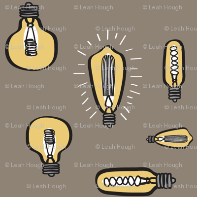 Hand Drawn Edison Bulbs Taupe BG
