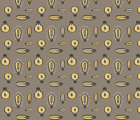 Hand Drawn Edison Bulbs Taupe BG fabric by huffernickel on Spoonflower - custom fabric