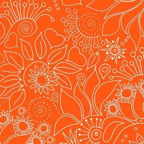 Floral on_orange