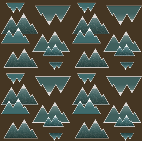 Rustic Teal Mountains fabric by huffernickel on Spoonflower - custom fabric