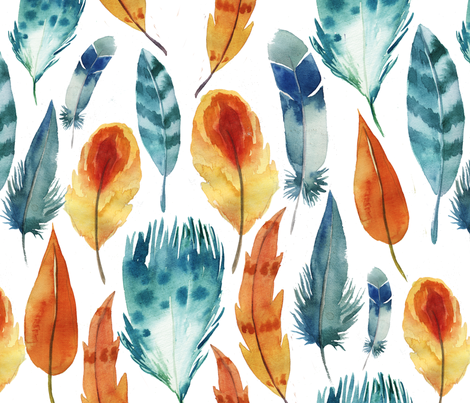 hen feathers fabric by holaholga on Spoonflower - custom fabric
