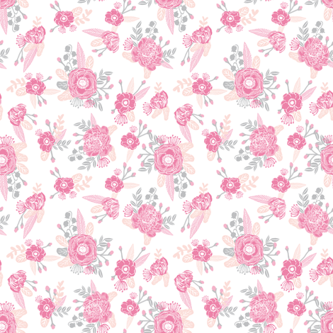 pink florals fabric painted flowers design mini small scale print fabric by charlottewinter on Spoonflower - custom fabric