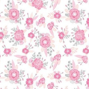 pink florals fabric painted flowers design mini small scale print