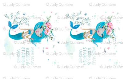 Blue Mermaid 2 to 1 Yard - Mermaid Kisses Quote