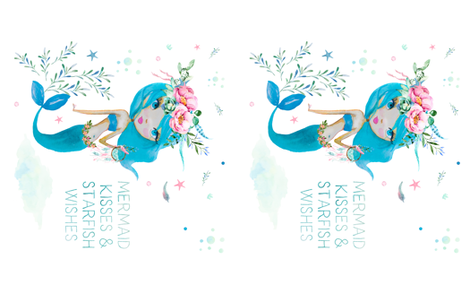 Blue Mermaid 2 to 1 Yard - Mermaid Kisses Quote fabric by shopcabin on Spoonflower - custom fabric