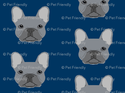 frenchie fabric french bulldog head design grey frenchies - navy