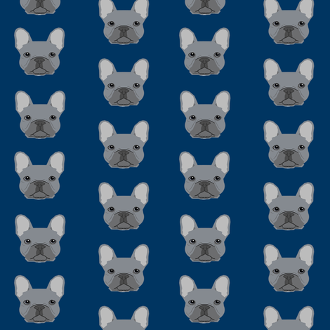 frenchie fabric french bulldog head design grey frenchies - navy fabric by petfriendly on Spoonflower - custom fabric