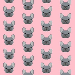 frenchie fabric french bulldog head design grey frenchies - pink