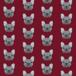 frenchie fabric french bulldog head design grey frenchies - ruby