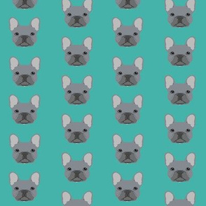 frenchie fabric french bulldog head design grey frenchies - turquoise