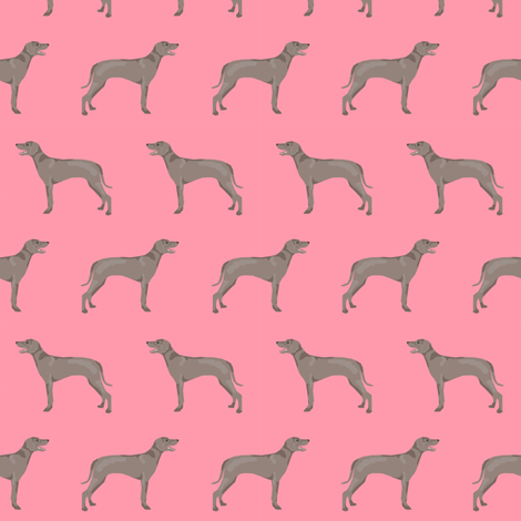 weimaraner dog fabric simple dog design  - pink fabric by petfriendly on Spoonflower - custom fabric