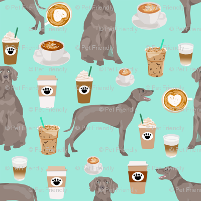 weimaraner dog fabric coffees and dogs design - aqua