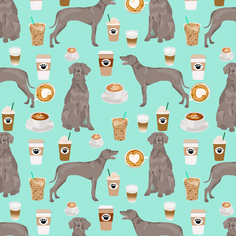 weimaraner dog fabric coffees and dogs design - aqua fabric by petfriendly on Spoonflower - custom fabric