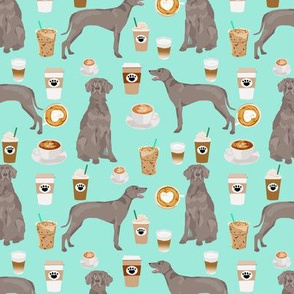 weimaraner dog fabric coffees and dogs design - aqua