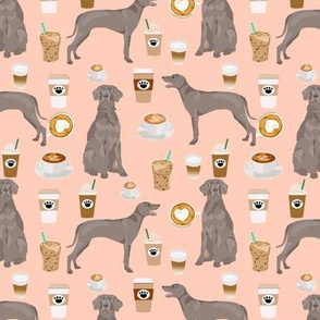 weimaraner dog fabric coffees and dogs design - blush