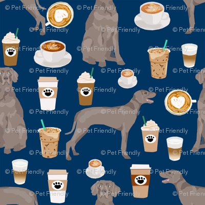 weimaraner dog fabric coffees and dogs design - navy