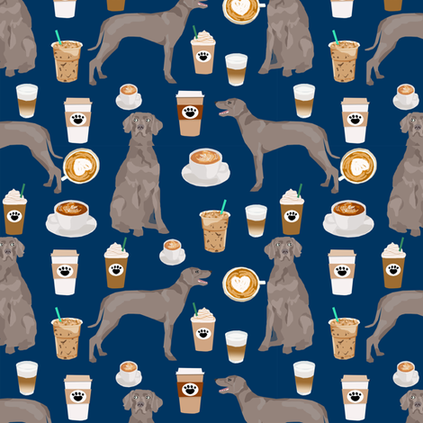 weimaraner dog fabric coffees and dogs design - navy fabric by petfriendly on Spoonflower - custom fabric