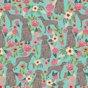 weimaraner florals dog fabric - floral dog design - mint green