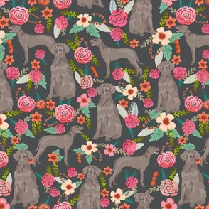 weimaraner florals dog fabric - floral dog design - shadow grey