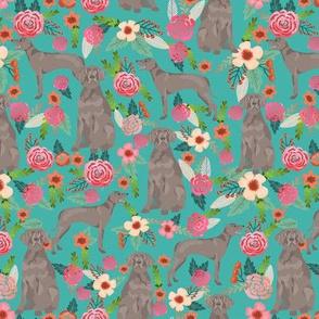 weimaraner florals dog fabric - floral dog design - turquoise