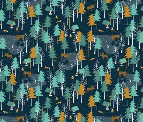 Moonlight, large scale - WINTER CAMPING ALTERNATIVE fabric by papercanoefabricshop on Spoonflower - custom fabric
