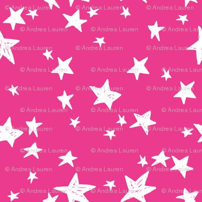 stars // hot pink star fabric girls