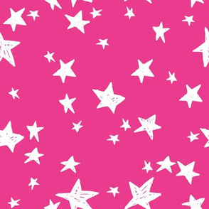 stars // hot pink star fabric girls