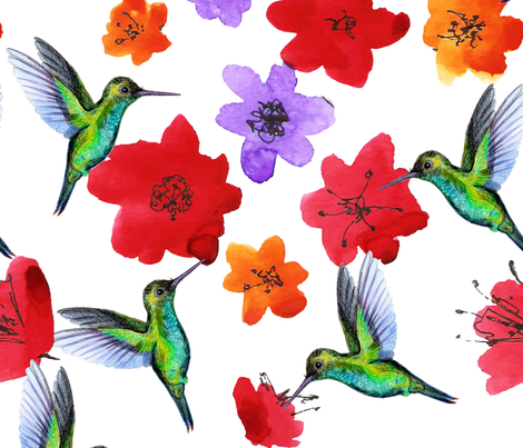 Colibri dance in the garden fabric by nadiia_nemchenko on Spoonflower - custom fabric