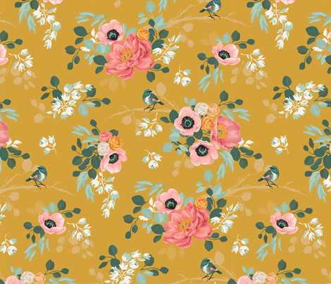 Spring Mustard Floral '17 fabric by acdesign on Spoonflower - custom fabric