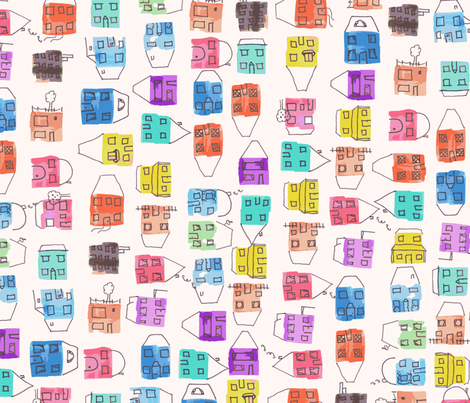 Water colour houses fabric by craftwithcartwright on Spoonflower - custom fabric