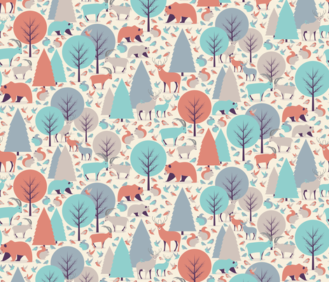 Mountain Animals / Retro Color Palette fabric by matite on Spoonflower - custom fabric