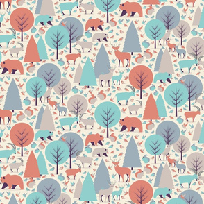 Mountain Animals / Retro Color Palette