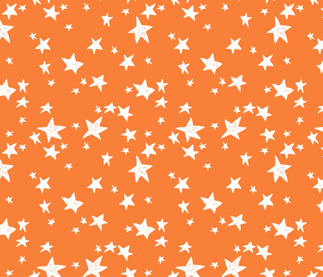 Stars Pumpkin Orange Star Fabric Orange Halloween