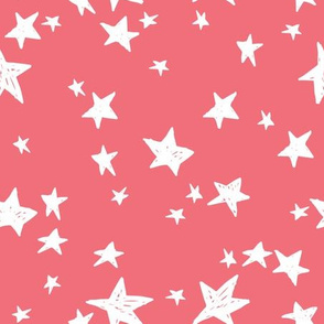 stars // salmon star fabric nursery baby fabric design hand-drawn scandi style by andrea lauren