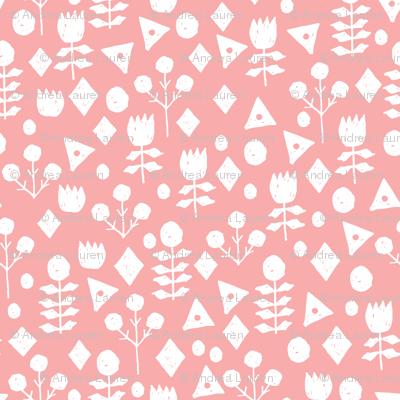 geo florals // ballerina pink floral fabric simple flowers ballerina pink design
